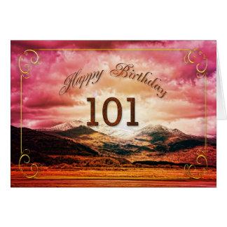 101誕生日、山上の日没 カード