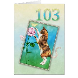 103rdよくはしゃぐな猫との誕生日 カード