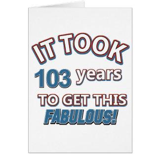 103rd年の誕生日のデザイン カード