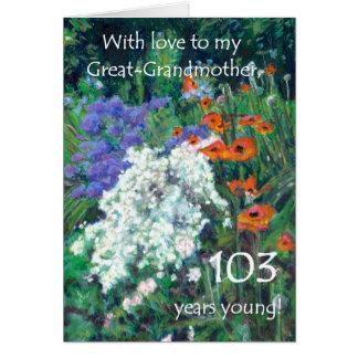 103rd曾祖母-庭のためのバースデー・カード カード