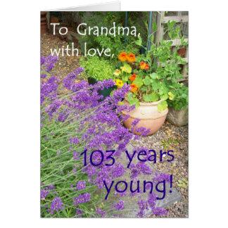 103rd祖母-花のためのバースデー・カード カード
