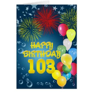 103rd花火および気球が付いているバースデー・カード カード