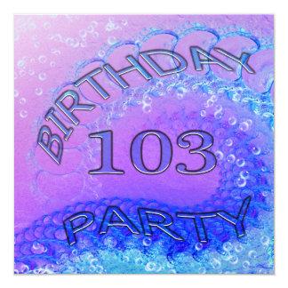 103rd誕生日のパーティの招待状、抽象芸術およびbubb カード
