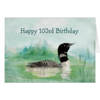 103rd誕生日のユーモアの水彩画の水潜り鳥の鳥の自然 カード