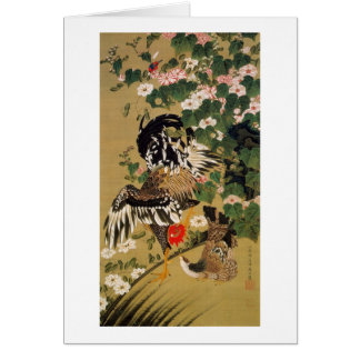 10. 芙蓉双鶏図、若冲の中国のなハイビスカス及びオンドリ、Jakuchū カード