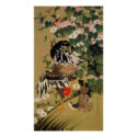 10. 芙蓉双鶏図、若冲の中国のハイビスカス及びオンドリ、Jakuchū print