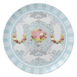 """10""""青のぼろぼろのシックな花の壷のプレート プレート"""