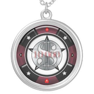 $10,000.00賭博カジノのポーカー用のチップ シルバープレートネックレス