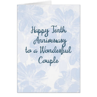 10th Wedding Anniversary Card Blue Flowers カード