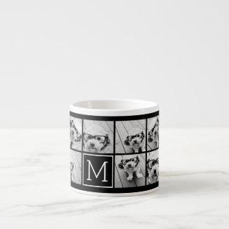 11の写真のInstagramのコラージュのカスタムで黒いモノグラム エスプレッソカップ