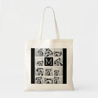 11の写真のInstagramのコラージュのカスタムで黒いモノグラム トートバッグ