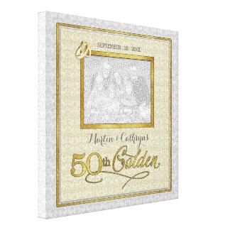 11x11インチの金第50結婚記念日の写真 キャンバスプリント