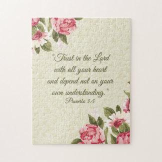 11x14諺の3:5の聖なる書物、経典w/pinkのバラ ジグソーパズル