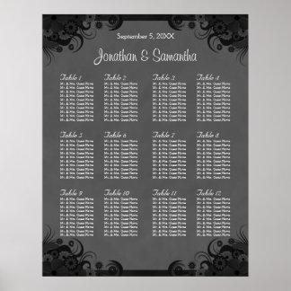 12のテーブルの座席の図表を結婚する黒いおよび灰色のゴシック ポスター