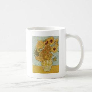 12のヒマワリが付いているつぼ コーヒーマグカップ