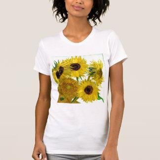 12のヒマワリが付いているつぼ、ゴッホのファインアート Tシャツ