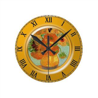 12のヒマワリが付いているつぼ、フィンセント・ファン・ゴッホ ラウンド壁時計