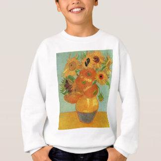 12のヒマワリが付いているゴッホのつぼ、花のファインアート スウェットシャツ