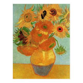 12のヒマワリが付いているゴッホのつぼ、花のファインアート ポストカード
