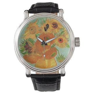 12のヒマワリが付いているゴッホのつぼ、花のファインアート 腕時計