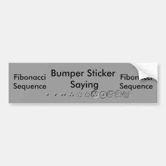 12ディジットのフィボナッチ百分法の順序 バンパーステッカー