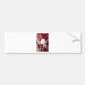 12匹の赤1の白いバレンタインのバラのつぼみのコレクション バンパーステッカー