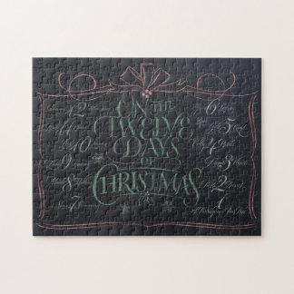 12日のクリスマスのチョークに文字を入れる黒板 ジグソーパズル