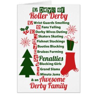 12日のローラーのダービーのクリスマス、ローラースケートで滑る カード