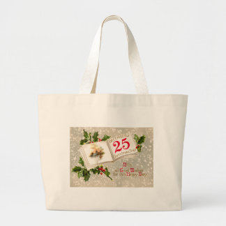 12月25日教会ヒイラギの雪 ラージトートバッグ