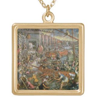 1204年にコンスタンチノープルの捕獲(canvの油 ゴールドプレートネックレス