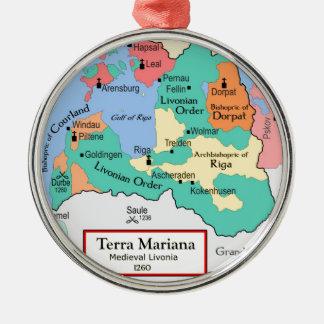1260年頃地図 シルバーカラー丸型オーナメント
