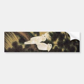 12. 老松鸚鵡図、若冲のマツ木及びオウム、Jakuchū バンパーステッカー