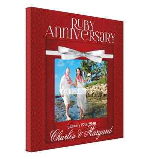 12x12第40ルビー色の結婚記念日のカスタムの写真 キャンバスプリント