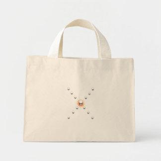 13のスカルの不気味なオレンジ日が差すことの十字 ミニトートバッグ