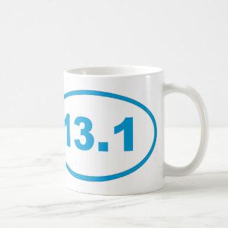 13.1青緑色の青い楕円形 コーヒーマグカップ