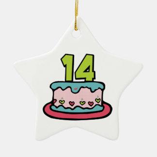 14歳のお誕生日ケーキ セラミックオーナメント