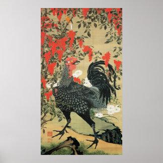 14. 南天雄鶏図、若冲の赤いナットおよびオンドリ、Jakuchu ポスター