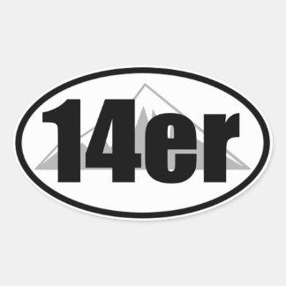 14erステッカー 楕円形シール