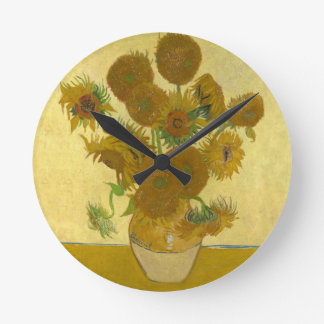 15のヒマワリが付いているフィンセント・ファン・ゴッホのつぼ ラウンド壁時計