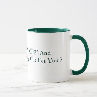 """15のozの""""希望""""および""""変更""""の緑 マグカップ"""
