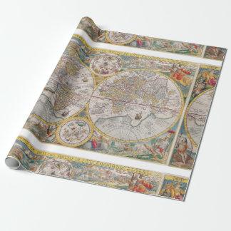 1525年からの中世世界地図 ラッピングペーパー