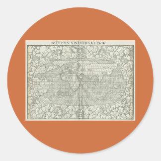 1560年頃セバスチャンMünster著旧式な世界地図 ラウンドシール