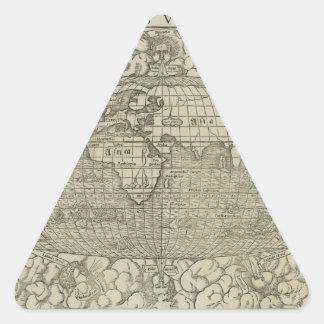 1560年頃セバスチャンMünster著旧式な世界地図 三角形シール