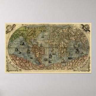 1565年のFerando Berteli (フェルナンドBertelli)の世界地図 ポスター