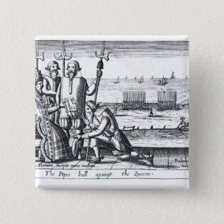 1570年に女王に対する法皇のBull 5.1cm 正方形バッジ