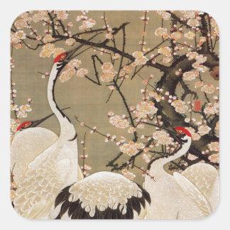 15. 梅花群鶴図、若冲のプラムは及びクレーン、Jakuchū活気付きます スクエアシール