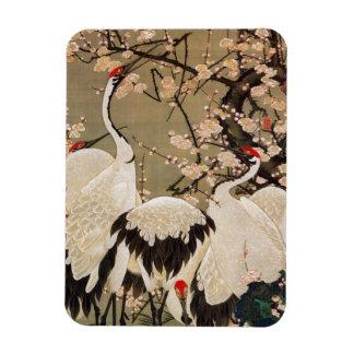 15. 梅花群鶴図、若冲のプラムは及びクレーン、Jakuchū活気付きます マグネット