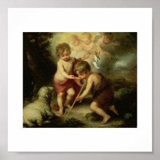 1600's頃幼児イエス・キリストそして洗礼者ヨハネ ポスター