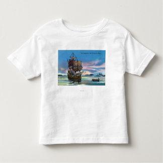 1620年の場面のMayflowerの着陸 トドラーTシャツ