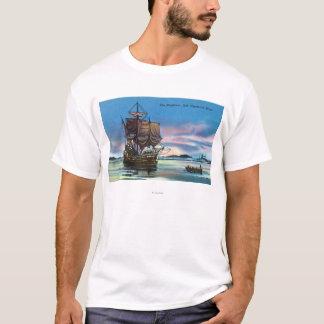 1620年の場面のMayflowerの着陸 Tシャツ